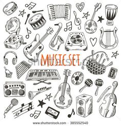 Music set. Hand drawn musical instruments for your design. Synthesizer, bass guitar, domra, gramophone,  bagpipe, microphone, vinyl, maracas, cassette, piano and other.