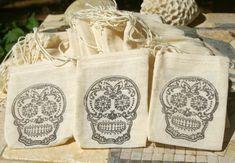 Favor Bags Sugar Skull Wedding Muslin Bag Favor Bag by OwensAcres, $6.95