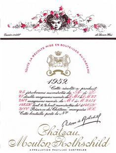 "1952 Chateau Mouton-Rothschild label by Léonor Fini. #Wine / Like a doodle from a child's exercise book, her young ""She-Ram"" for the 1952 Mouton Rothschild label demonstrates Léonor Fini's capacity, by the sheer elegance and precision of her drawing, to lift everyday reality into the world of dreams."