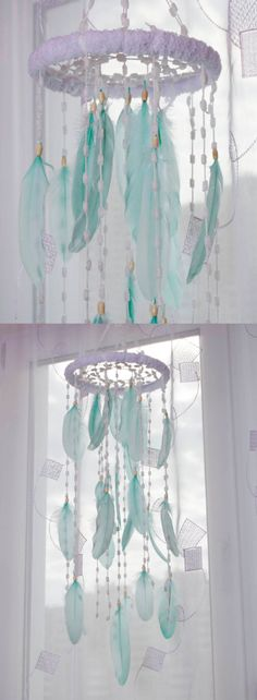 Mint Nursery Bаbу Mobile Decor Christmas Snow Mobiles bedding Fluffy Dream Catcher Kids Wedding Bedroom Dreamcatcher Boho Baby Girl Boy by MagicalSweetDreams on Etsy https://www.etsy.com/listing/398774459/mint-nursery-babu-mobile-decor-christmas