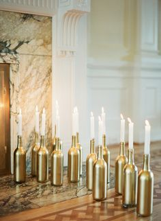 Romantic idea- gold bottles with candles | Elegant Blush Wedding Inspiration | Artiese Studios