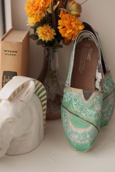 Mint and Gold Lace Custom TOMS Shoes by rtothesecondpower on Etsy, $100.00