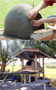 Great DIY wood fired outdoor pizza oven with simple low cost materials! Step by step cob / earth oven building tutorial, a free ebook, & helpful resources! Build A Pizza Oven, Pizza Oven Kits, Pizza Oven Outdoor, Outdoor Kitchen Bars, Outdoor Cooking, Pizza Ovens, Outdoor Kitchens, Outdoor Rooms, Outdoor Living