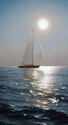 Sailing Into The Sunset ~ Alexei Adamov @ by Music Painting and Surroundings, # . - Sailing Into The Sunset ~ Alexei Adamov @ by Music Painting and Surroundings, - Ship Paintings, Seascape Paintings, Landscape Paintings, Sailboat Painting, Music Painting, Nature Pictures, Beautiful Pictures, Boat Wallpaper, Boat Art