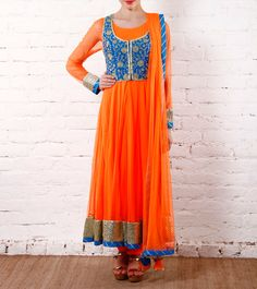 #Orange Sequined #Anarkali #Suit With Blue Raw #Silk #Jacket by #Sonia #Saxena at #Indianroots