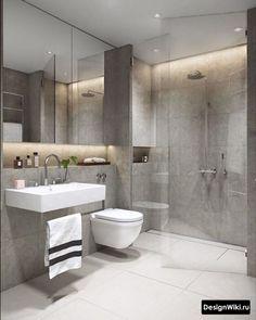 Small bathroom ideas grey tiles bathroom ideas grey grey modern bathroom ideas plain on in best bathrooms images 2 bathroom design Bathroom Layout, Modern Bathroom Design, Bathroom Interior Design, Bathroom Designs, Modern Design, Contemporary Bathrooms, Bathroom Colors, Bath Design, Modern Toilet Design