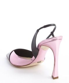 style #332901001 black and pink leather slingback pumps