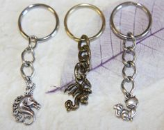 3 KEYCHAINS! 3D Bronze Dragon, Silver Unicorn, and Cute Fox Charm Keychains - Great Men's, Women's, or Kid's Christmas Stocking Stuffers!