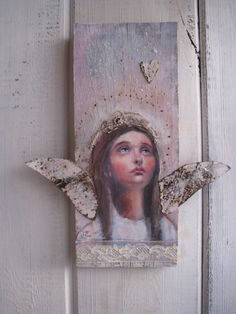 salvage angel on barn wood from original painting tin wings