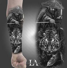 Wicked Tattoos for Men . Wicked Tattoos for Men . Pin On Style Samurai Tattoo Sleeve, Samurai Warrior Tattoo, Tiger Tattoo Sleeve, Forearm Sleeve Tattoos, Warrior Tattoos, Tattoo Sleeve Designs, Leg Tattoos, Body Art Tattoos, Tattoos For Guys