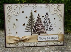 Stampin' Up! Festival of Trees, tree punch in neutral colors with Filigree Frame TEIF. Need this stamp/punch Homemade Christmas Cards, Christmas Tree Cards, Stampin Up Christmas, Noel Christmas, Xmas Cards, Handmade Christmas, Homemade Cards, Holiday Cards, Vienna Christmas