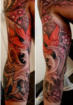 Like the flowers, waves, use of color. Full Sleeve Tattoo Design, Arm Sleeve Tattoos, Japanese Sleeve Tattoos, Sleeve Tattoos For Women, Tattoos For Guys, Life Tattoos, Body Art Tattoos, Cool Tattoos, Maori Tattoos