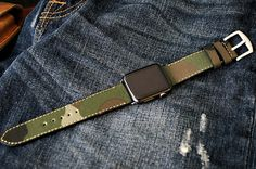 Camouflage Canvas on Leather Strap band incl. Lugs Adapter for Apple Watch (Steel,Alu,Space Gray) 42mm or 38mm incl Buckle
