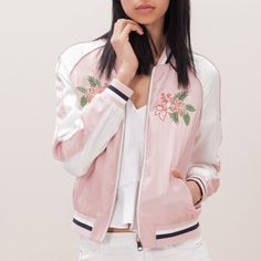 Pink bomber jacket flower embroidered jackets for women