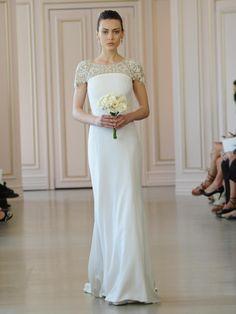 Oscar de la Renta white crepe envers satin wedding dress with jewel encrusted illusion tulle decolletage
