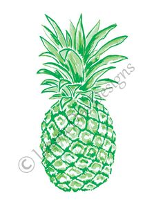 8x10 Pineapple Illustration-Kelly Green