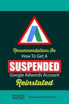 Recommendations On How To Get A Suspended Google Adwords Account Reinstated. Our #SEO Experts Say ...via http://semanticmastery.com/recommendations-on-how-to-get-a-suspended-google-adwords-account-reinstated/. This is a question from an attendee that asked at one of our Free weekly Hump Day Hangouts here http://semanticmastery.com/humpday