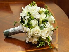 hand tied bouquet of white freesias and white roses sarah Freesia Wedding Bouquet, Bright Wedding Flowers, Winter Wedding Flowers, White Wedding Bouquets, Wedding Flower Arrangements, Bride Bouquets, Floral Wedding, Floral Arrangements, Bouquet Flowers