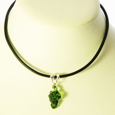 Original green grape necklace in a fruity festival style One of a kind black leatherette jewellery from Susie carol This green grape has a glowing translucent color