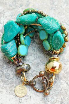 Russian Amazonite, Teal, Mint, Aqua, Gold and Bronze Bracelet