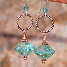 Aqua Czech Glass Handmade Earrings Copper Sparkly OOAK Jewelry Unique | ShadowDogDesigns - Jewelry on ArtFire