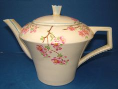 1930's Barker Bros Tudor Ware Art Deco Teapot Decorated with Cherry Blossom