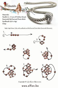 Right Angle Weave Tube with seedbeads and BeCharmed Pavés 80101 (Swarovski Elements).be Right Angle Weave Tube with seedbeads and BeCharmed Pavés 80101 (Swarovski Elements). Bijoux Wire Wrap, Bijoux Diy, Beading Techniques, Beading Tutorials, Beaded Jewelry Patterns, Beading Patterns, Right Angle Weave, Necklace Tutorial, Bead Jewellery