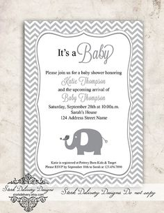 Chevron Grey Elephant & Bird Unisex Baby Shower by StorkDelivery, $13.00
