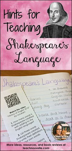 Introducing Shakespeare's Language: Help students understand Shakespeare's Language by breaking down the process. Use these engaging activities to introduce the vocabulary, grammar, and rhythms used in his language. Students will also explore Shakespeare's influence on the English language and do some translation. Blog post.