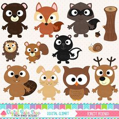 woodland clipart digital clip art owl hedgehog bird fox beaver skunk squirrel snail - Forest Friends Clipart
