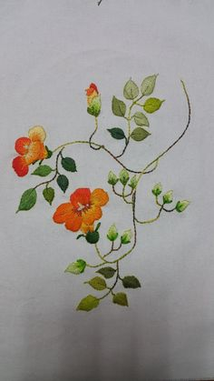 a - Salvabrani Basic Embroidery Stitches, Floral Embroidery Patterns, Hand Work Embroidery, Embroidery Flowers Pattern, Simple Embroidery, Embroidery Needles, Hand Embroidery Designs, Thread Painting, Fabric Painting