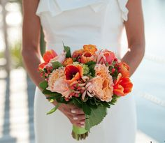 pretty coral flowers if you did gray dresses?