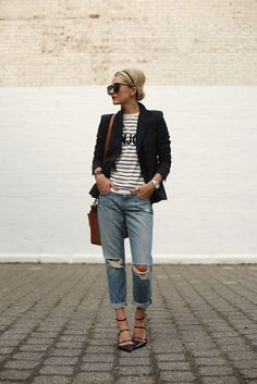 Dress up your tee and boyfriend jeans with a blazer this fall.