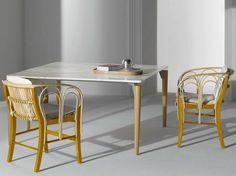 Tavolo quadrato con piano in marmo e piedi in legno TAVOLO '95 - DE PADOVA