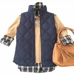 j.crew factory | quilted puffer vest, navy. Down-filled poly. Hits at hip. Standing collar. Zip closure. Patch pockets with hidden snap closure. Machine wash. Import. J. Crew Jackets & Coats Vests