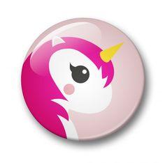 button eenhoorn pink