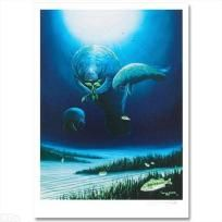 Wyland! Manatee Visit! LIMITED EDITION Lithograph by renowned artist WYLAND NEW FREE SHIPPING
