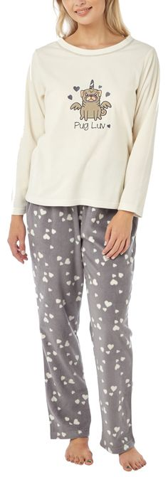 0cd241ae4126 Ladies fleece pug unicorn pj sets Available at www.ilovepugs.co.uk post  worldwide