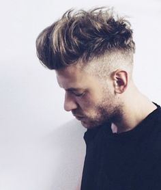 Mens Fade Hairstyles This fade is bordering on high and tight territory. It's a great look if you can pull it off Classic Men's Hairstyless . Mens Messy Hairstyles, Hairstyles Haircuts, Haircuts For Men, Beard Styles For Men, Hair And Beard Styles, Short Hair Styles, Fade Long On Top, Men Hair Color, Great Hair