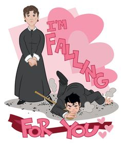 (Downton Abbey) Mrs. O'Brien tripping Mr. Bates... on a Valentine.