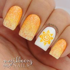 """Nails / Nailart -  Sally Hansen """"White On"""", """"Butter-fly Stroke"""", and """"Man-go Team!"""" for the gradient and topped it with Sally Hansen Fuzzy Coat in """"Peach Fuzz"""". Sun was done in acrylic paint. --- Instagram @majikbeenz"""