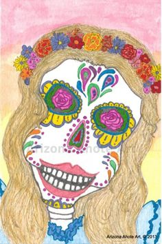Print of Original Day of the Dead Blonde Girl Watercolor Painting 4x6 | ArizonaAhoteArt - Print on ArtFire