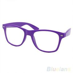 Fashion Lovely Unisex Clear Lens Nerd Geek Glasses... (2.85 CAD) ❤ liked on Polyvore featuring accessories, eyewear, eyeglasses, glasses, purple glasses, clear eyeglasses, clear glasses, lens glasses and unisex glasses