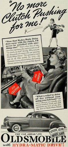 1941 Ad Oldsmobile Hydra-Matic Drive Car No Clutch - ORIGINAL ADVERTISING GH4