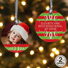 Personalized 2-Sided Christmas Photo Ornaments - they come in tons of design and color options! PersonalizationMall.com has the best selection of Personalized Christmas Ornaments!!!
