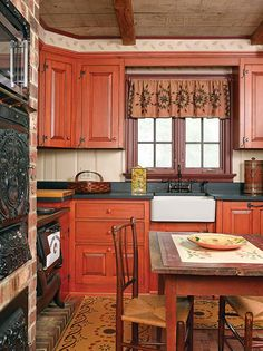 """An Artisan-Made Reproduction Cape Cabinets are Kennebec's Grover Tavern style in hand-planed pine: """"The patina continues to get better."""" Countertops are from Vermont Soapstone. Colonial Kitchen, Farmhouse Style Kitchen, Rustic Kitchen, Kitchen Ideas, Farmhouse Kitchens, Farmhouse Decor, Country Farmhouse, Kitchen Designs, Primitive Kitchen Cabinets"""