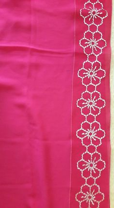 Sashiko Embroidery, Embroidery Saree, Embroidery Stitches, Embroidery Patterns, Hand Embroidery, Fiber Art, Designer Dresses, Diy And Crafts, Applique