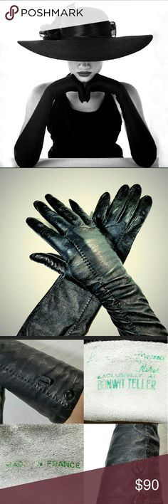 """VTG 1940s Kid Leather Black Opera Gloves Gorgeous Vintage 1940s Kid Leather Black Opera Length Gloves Made in France. Size 6.5. Leather sewn buttons on the edges of the gloves. Perfect condition. Approximately 17"""" long. Marked """"Made in France"""" and with the maker (which I can't read) made for Bonwitt Teller. Vintage Accessories Gloves & Mittens"""