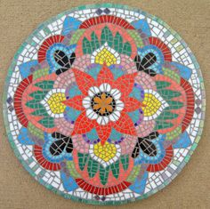 Items similar to Mosaic mandala, shown. Specify colors and sizes, allow 2 weeks for fabrication & shipping. Mosaic Diy, Mosaic Garden, Mosaic Crafts, Mosaic Projects, Mosaic Glass, Mosaic Tiles, Glass Art, Art Projects, Mosaics