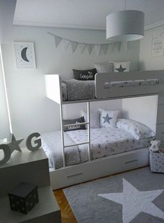 La habitación de los mellizos de Lorena en BLANCO Y GRIS!